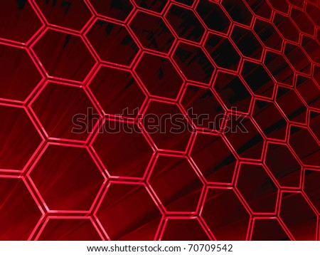 red hexagons modern background - stock photo
