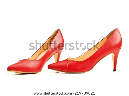 red high heel on white background - stock photo