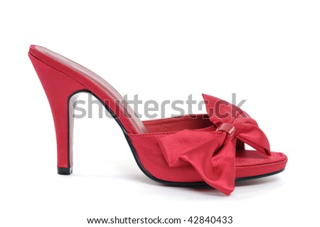Red high heel shoe isolated on white background - stock photo