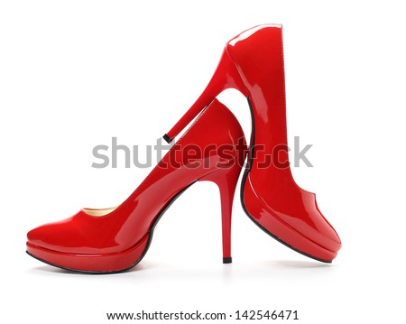Red high heel shoes - stock photo