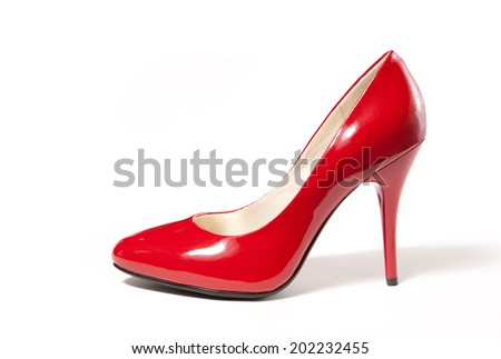 Red high heel women shoe isolated on white - stock photo
