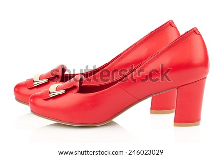 Red high heel women shoes isolated on white background. - stock photo
