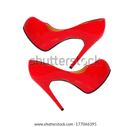 red high heeled woman shoes isolated on white background - stock photo