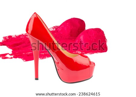 red high heels and underwear photo icon for fashion, erotic and fetish - stock photo