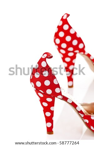Red High Heels Ladies Shoes with polka dots - stock photo