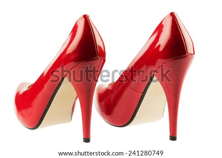 red high heels, symbolic photo for fashion, elegance and eroticism - stock photo