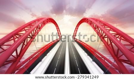 red highway bridge across water at sunset rendered transportation theme illustration design - stock photo