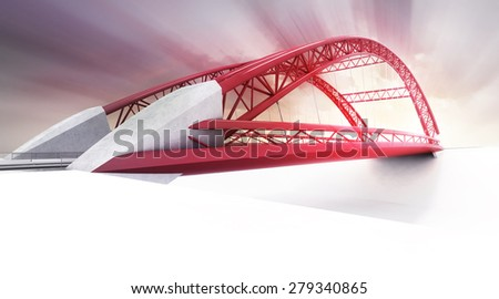 red highway bridge in perspective view rendered transportation theme illustration design - stock photo