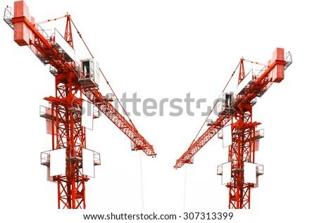 Red hoisting crane isolate on white background - stock photo