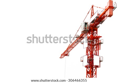 Red hoisting crane isolate on white background and space for your text - stock photo