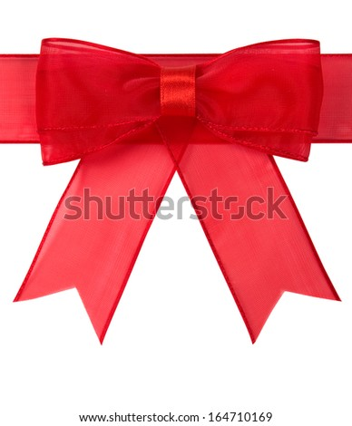 Red holiday bow isolated - stock photo
