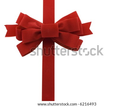 Red holiday bow isolated on white - stock photo