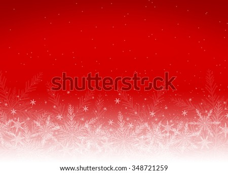 Red holiday christmas background with white snowflakes - stock photo