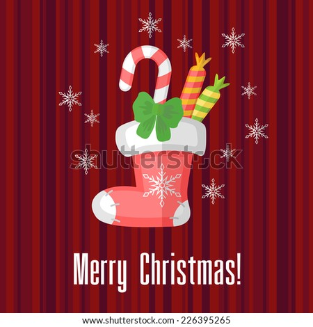 Red holiday Christmas card with sock or stocking - stock photo