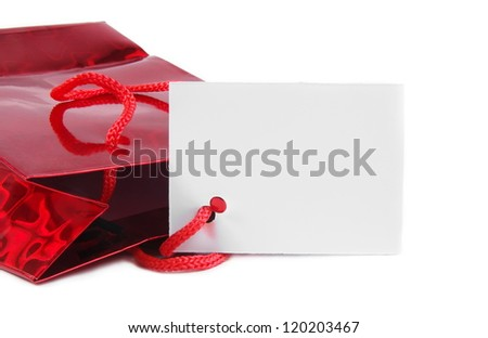 red holiday gift bag with space for text