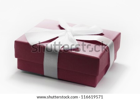 Red Holiday Giftbox on White - stock photo