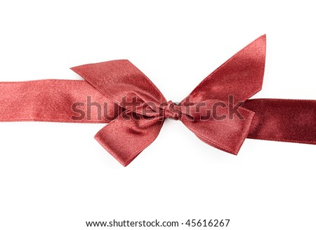 red holiday ribbon on white background