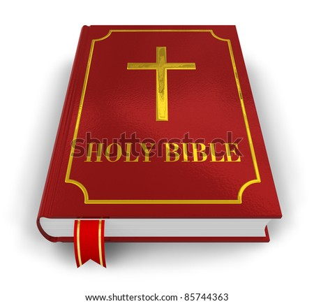 Red Holy Bible isolated on white background - stock photo