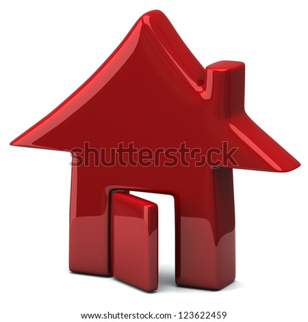 Red home icon, 3d - stock photo