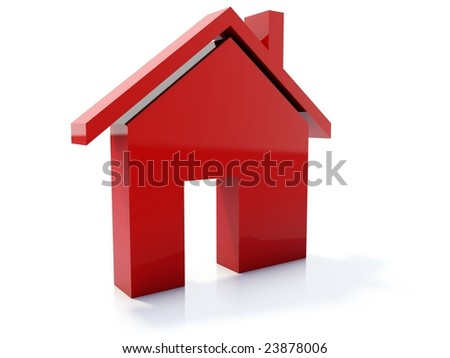 Red home icon isolated on white - stock photo