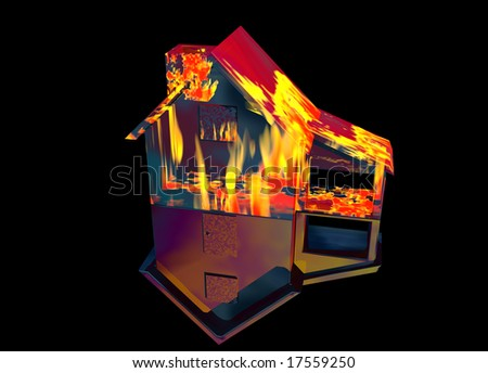 Red Home on Fire House Model with Reflection Concept For Risk or Property Insurance Protection on Black Background - stock photo