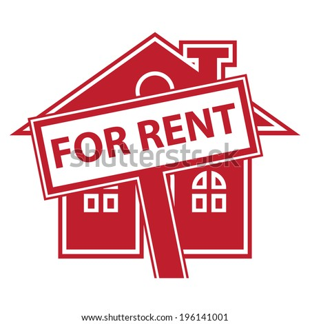 Red Home or Residence for Rent Icon or Label Isolated on White Background  - stock photo