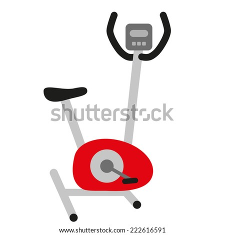red hometrainer stationary bicycle, training simulator, exercise bike with display and black seat - symbol of sport and healthy lifestyle - stock photo