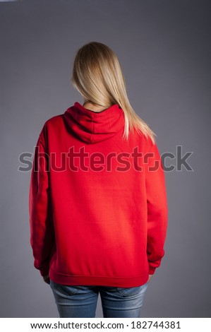 Red hoodie - stock photo