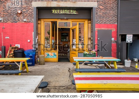 RED HOOK, BROOKLYN - JUNE 6, 2015:  Landmark Key Lime Pie shop in the gentrified neighborhood of Red Hook Brooklyn in New York City. - stock photo