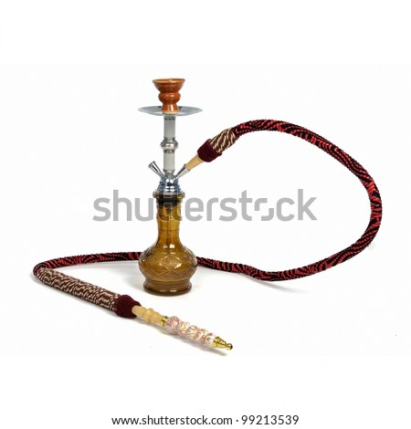 Red hookah isolated on a white background - stock photo
