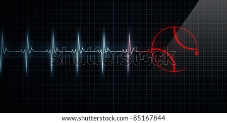 Red Horizontal Pulse Trace Heart Monitor with a baseball in line. Concept for sports medicine, baseball players, or die-hard baseball fans. - stock photo