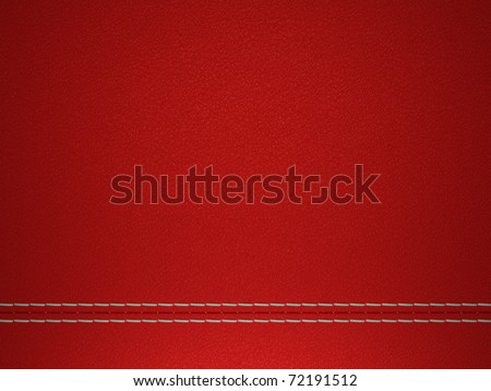 Red horizontal stitched leather background. Large resolution - stock photo