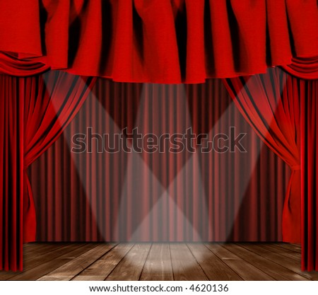 Red Horozontal Draped Theatre Curtains on Black With 3 Spotlights - stock photo