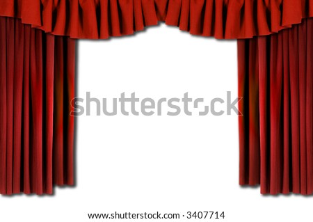Red Horozontal Draped Theatre Curtains on white - stock photo