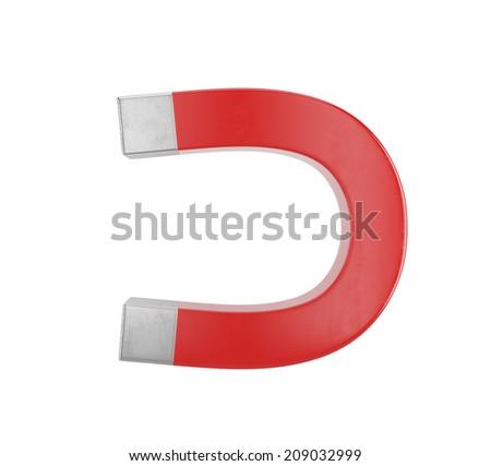 Red horseshoe magnet isolated on white background  - stock photo