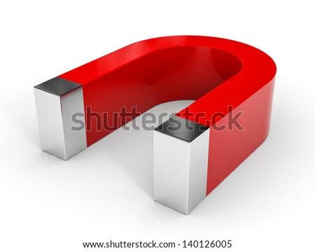 Red horseshoe magnet on white background. 3D illustration. - stock photo