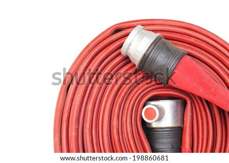 Red hose fire shabby and through use on white background