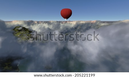 red hot air balloon against blue sky made in 3d software - stock photo