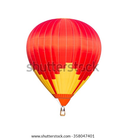 Red hot air balloon isolated on white background; clipping path - stock photo