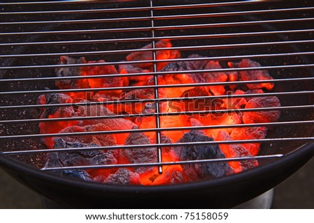 Red hot burning charcoal preparing for grilling - stock photo