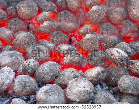 Red hot burning coals background in the hearth - stock photo