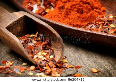 Red hot chili flakes and powder