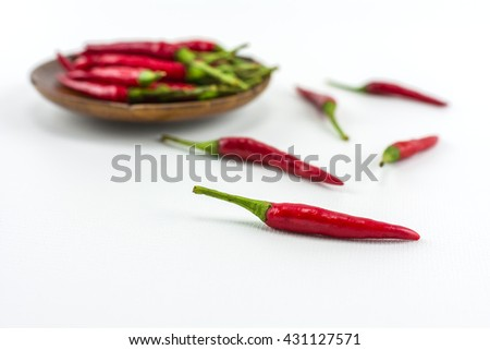 Red Hot chili On a white background./ Red hot chili peppers isolated on white background - stock photo