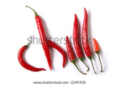 red hot chili on white background - stock photo