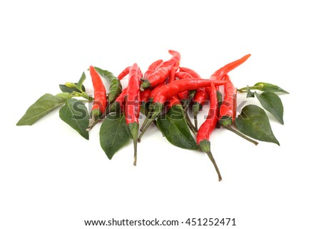 Red hot chili peppers and leaves