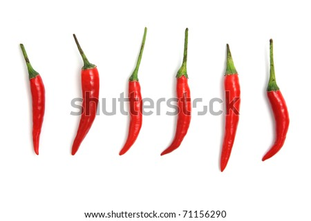 Red hot chili peppers isolated on white background - stock photo