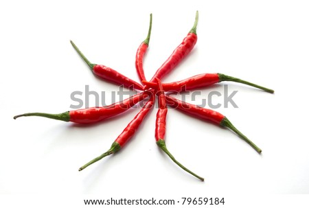 Red Hot Chili Peppers over white background. - stock photo