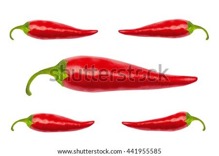 Red hot chili peppers with clipping path isolated on white. Red hot chili peppers with work path. Spicy chilli peppers. - stock photo