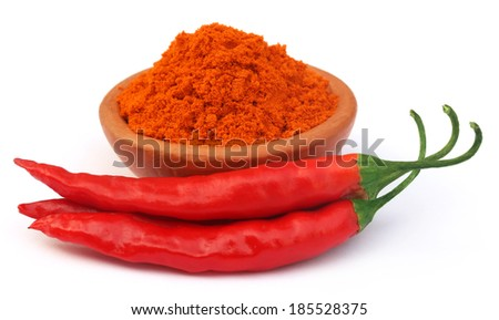 Red hot chilies over white background - stock photo