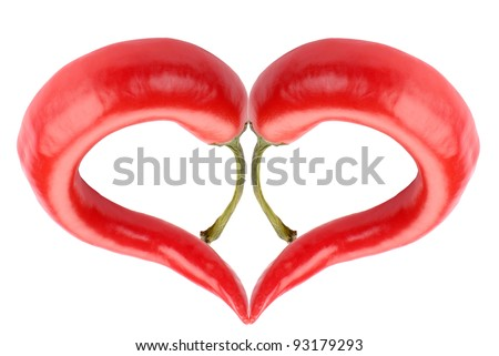 red hot chilli pepper heart isolated on white - stock photo